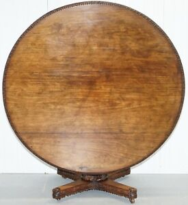 Very Rare 19th Century Hand Carved Wood Anglo Indian Padouk Dining Center Table