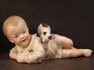 19c Heubach Porcelain Bisque Piano Baby Figurine Playing Bunny Rabbit