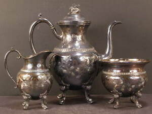 Victorian Silver Tea Pot Engraved Cut Etched Chase Work Raspberry Service Set Nr