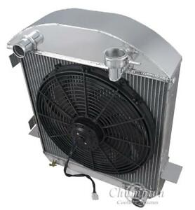 4 Row Discount Radiator 16 Fan For 1917 1927 Ford T Bucket Chevy Config