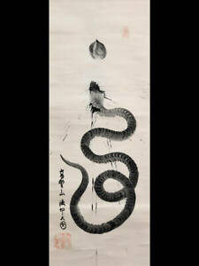 Japanese Painting Hanging Scroll Japan One Stroke Picture Old Snake Dragon D
