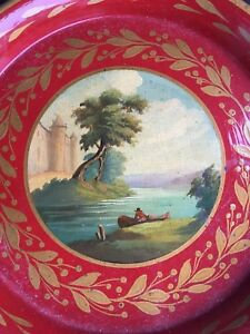 Antique Vintage French Tole Tray Platter