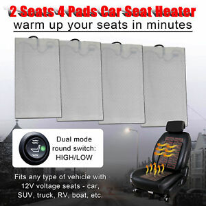 2 Seats Carbon Fiber Universal Car Heated Seat Heater Kit Cushion W Switch 4 Pad