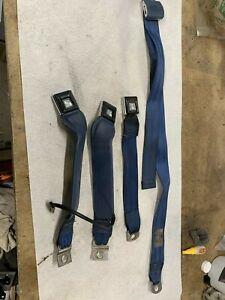 1992 1996 92 96 Ford Truck Bronco Bench Seat Seatbelts Set Bright Blue Nice