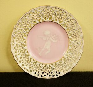 Antique Reticulated Pate Sur Pate Plate With Putti Or Cherub And Gold Rim