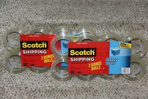 Lot Of 2 Scotch 3m Clear Heavy Duty Shipping Packing Tape 8 Roll 1 88in X 54 6yd