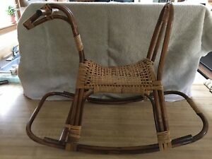 Vintage Mid Century Franco Albini Bamboo Rattan Rocking Horse