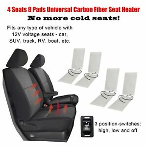 Carbon Fiber Universal Seat Heater Warmer 8 Pads 3 level Switch 4 Seats Fits 12v