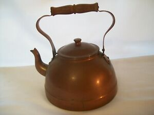 Vintage Metalware Copper Tin Lined Tea Kettle Made In Portugal