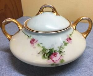 J C Trianon Bavaria Sugar Bowl With Lid Pink Flowers Blue Background Gold Trim