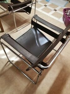 1 Leather Wassily Style Chairs In Good Condition