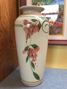 Vintage Art Deco Pottery VASE Cream with Pink Flowers 12quot; Tall