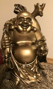 16 H Chinese Lucky Happy Buddha Wealth Stand With Money Bag Statue