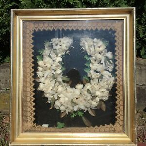 Antique Framed Large Victorian Feather Bridal Wreath Excellent Condition