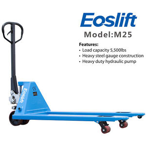 Eoslift M25 Pallet Jack Hand Truck 5500lb 27 X 48 With Pu Wheels Ships Free