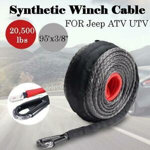 3 8 X 95 Synthetic Winch Rope Line Cable 20500lbs W Heat Guard Atv Utv