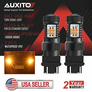 2x Auxito 3157 3156 Led Turn Signal Brake Tail Parking Light Bulbs Amber Yellow