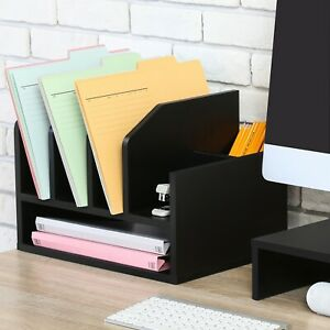 Fitueyes Wood Desk Organizer With Letter Tray 5 Upright Sections black