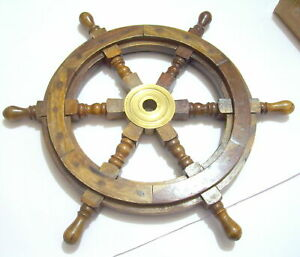18 Vintage Boat Ship Steering Wheel Brass Hub Wooden Decor Nautical Pirate