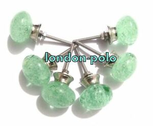 Bubble Glass Sea Green Kitchen Cabinet Door Pulls Knobs Handcrafted Set Of 6 Pcs