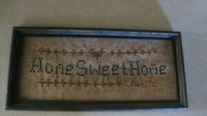 Primitive Home Sweet Home Stitched Picture 1992