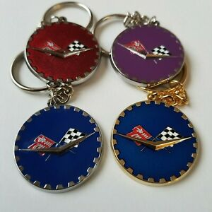 Chevy Flags Zenith Wire Wheel Metal Chip Emblem Key Chain