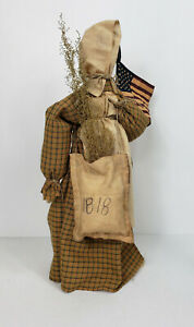 Primitive Country Americana Prairie Doll With Gold Dress And Flag On Stand