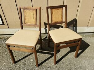 Vintage Cane Wood Folding Chairs Set Brown Dinette Mid Century Modern Stakmore