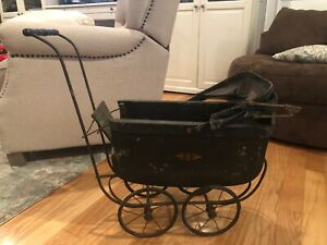 Large Antique Baby Doll Stroller Vintage Wooden Carriage Buggy Early 1900 S