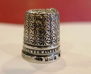 Antique Advertising Sterling Silver Thimble James Walker The London Jewelers