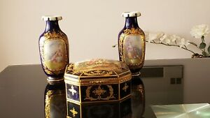 Antique Sevres Vases And A Jewelry Box 18 Century