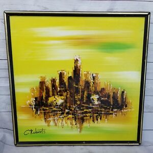 Vintage Mid Century C Roberts Abstract Cityscape Acrylic Painting Framed Mcm