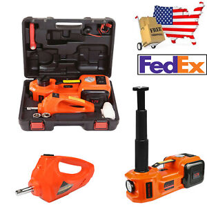 12v 5ton Car Jack Electric Hydraulic Protable Tire Impact Wrench Set Us Stock