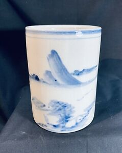 Vintage Japanese Blue And White Pottery Brush Holder