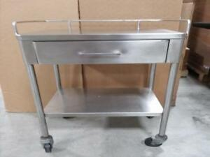Stainless Steel 2 Layers One Drawer Serving Medical Dental Lab Cart Trolley