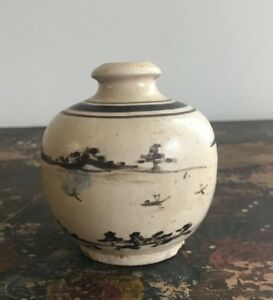 Antique Stoneware Cizhou Painted Meiping Jin Yuan Ming Dynasty Ink Bottle Vase