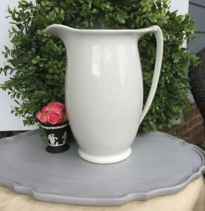 Large Antique English White Porcelain White Ironstone Pitcher