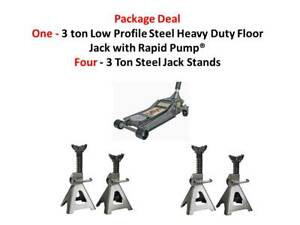 One 3 Ton Heavy Duty Steel Ultra Low Profile Floor Jack Four 3 Ton Jack Stands