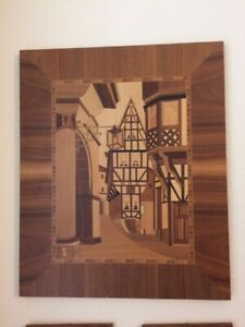 Inlaid Wood Marquetry Picture German Village Street Scene Pre 1980 S