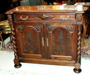 French Antique Louis Xiii Walnut Marble Top Sideboard Wine Bar Cabinet Furniture
