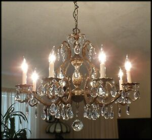 Vintage Brass Bronze Double Pineapple Large Chandelier With Prisms