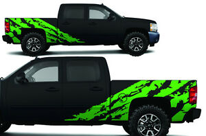 Custom Vinyl Decal Shred Wrap Kit Chevy Silverado Truck 1500 2500 2008 13 Green
