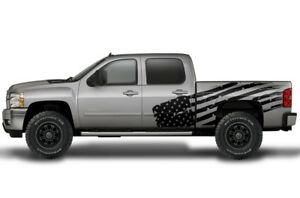Vinyl Decal Patriot Flag Wrap Kit For Chevy Silverado 1500 2500 2008 2013 Black