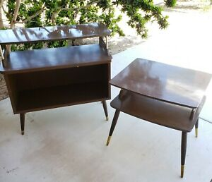 Vintage Pair Mid Century Modern Two Three Tier End Side Tables