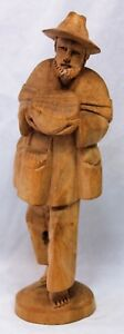Hand Carved Handgeschnitzt Handsome Man Carrying Cheese Southern Germany 1970s
