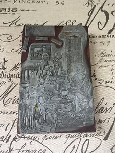 Vtg Printing Letterpress Printers Block Rich Family Tea Party Cats Living Room
