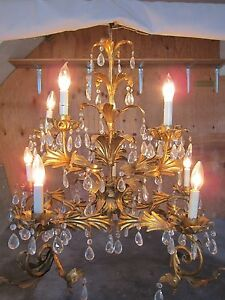 Italian Tole French Gilt Crystal Prisms Hollywood Regency Chandelier U Pick Up