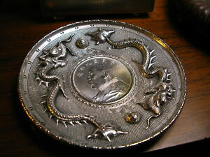Vintage Chinese Silver Jewelry Tray With A Mint Silver Dollar 1920 S