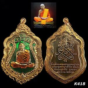 Rian Sema Lp Tim Be 2518 Talisman Magic Thai Amulet Buddha Gold Case Rare K418