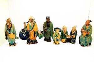 Vintage Asian Chinese Mudman Porcelain Figurines